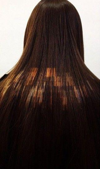 Effetto pixel per capelli color ramePixelated hair color rame su base capelli scura per la primavera 2015.