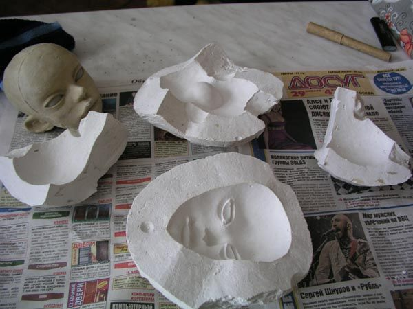 Plaster molds for doll heads. Tutorial.