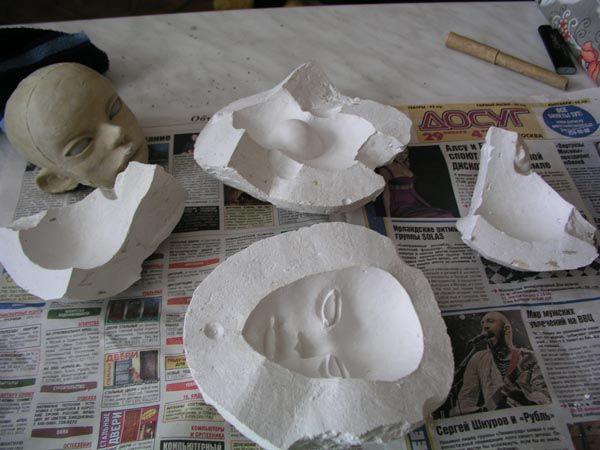 Plaster molds for doll heads. Tutorial.