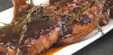 Close-up of pork chops glazed with honey balsamic