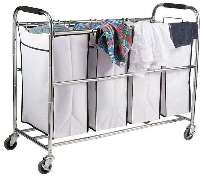 Homeit 4 Bag Heavy Duty Laundry Hamper Sorter Cart With Wheels