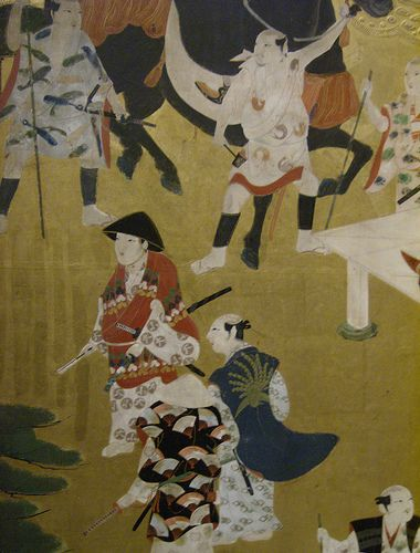 """Palace and horserace at Kamo shrine, Kyoto"" - Japanese painted screen, ca. 1615-1650"