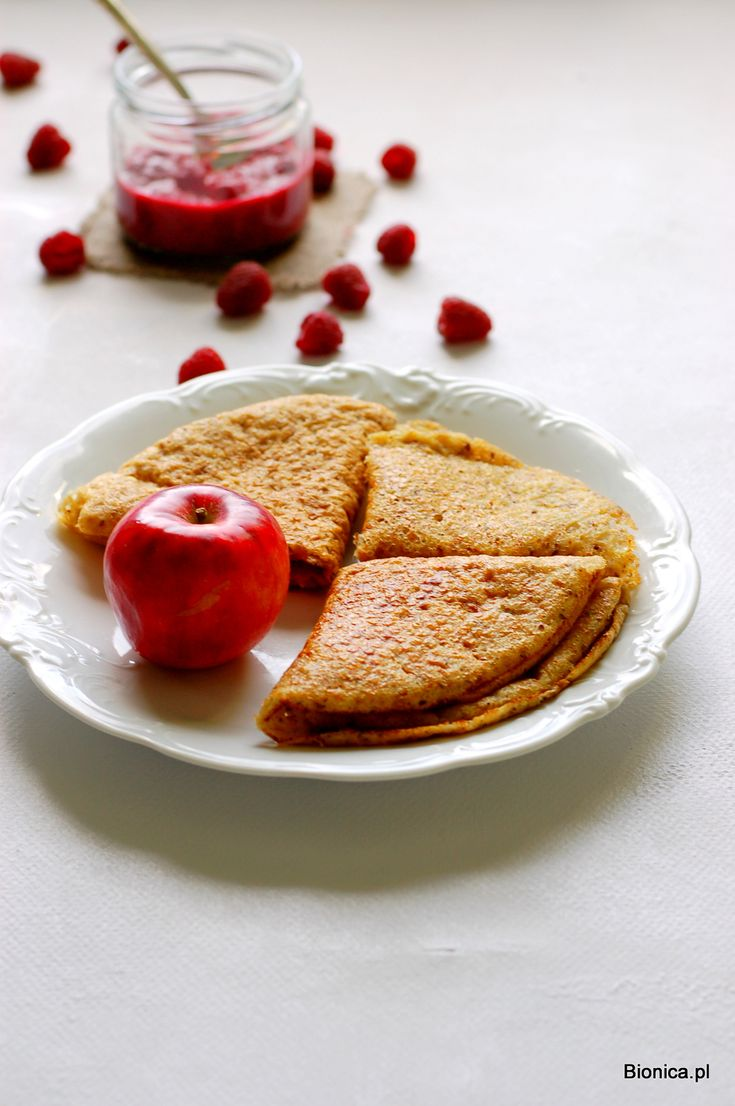 millet and quinoa pancakes with apples and raspberries jam with kuzu