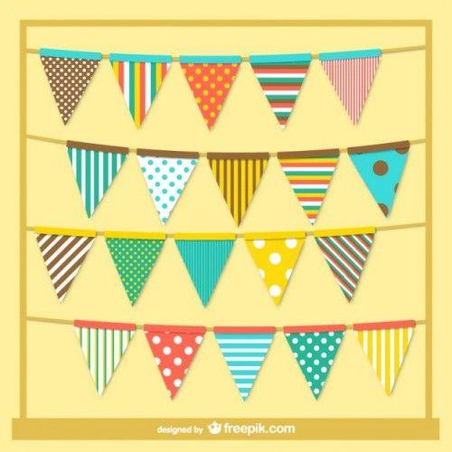 Colorful retro style garlands 500x500 パーティーデザインの必需品!フラッグ(バンティング)のベクターイラスト素材いろいろ(AI・EPS) Free Style