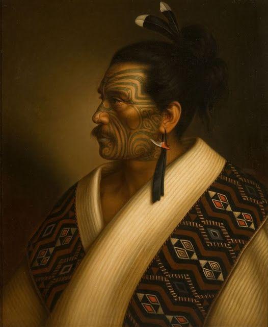 Portrait of Maori man Kamariera Te Hau Takiri Wharepapa  by Gottfried Lindauer,1895