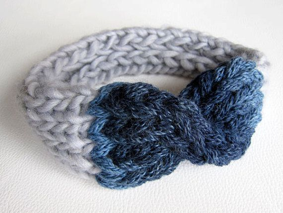 Hand Knitted Headband / Collar. Wool. Blue and Grey. One by OkBee, €22.00