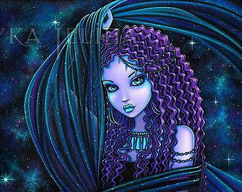 Nova Celestial Dschinn Lila Nebel Fairy Limited Edition Leinwand ACEO