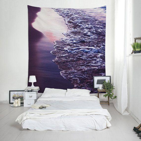Beach Wall Art Sunset Tapestries Purple Tapestry от Macrografiks