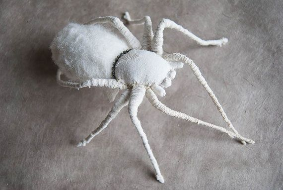 Weisse Spinne textil art insect Soft sculpture by mysouldesign