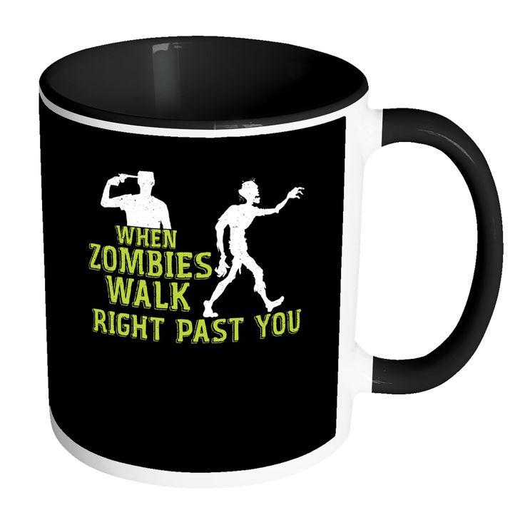 When Zombies Walk Right Past You Halloween Coffee Mug gulfbaytees.com Mens Zombie T Shirt Womens Zombie T Shirt