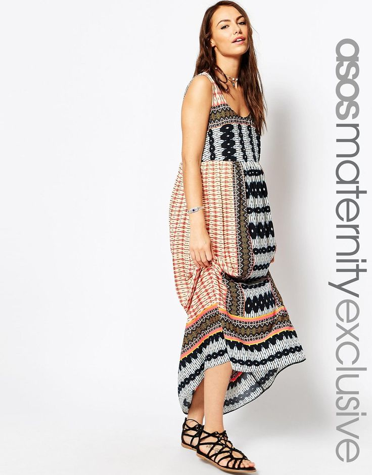 Image 1 of ASOS Maternity Beach Maxi Dress In Boho Print