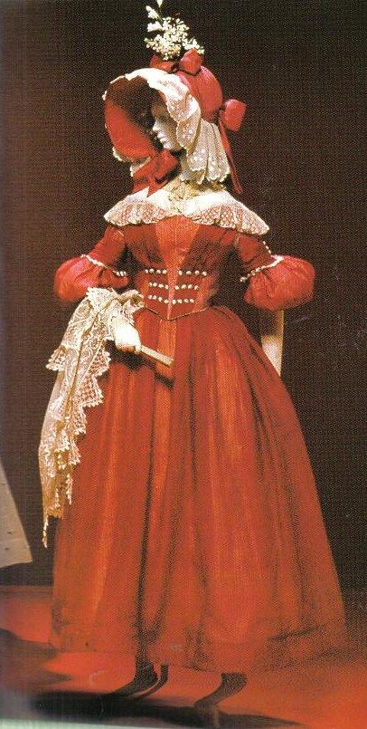 1838 Victorian Day Dress...that is one whole lot of red / orange!
