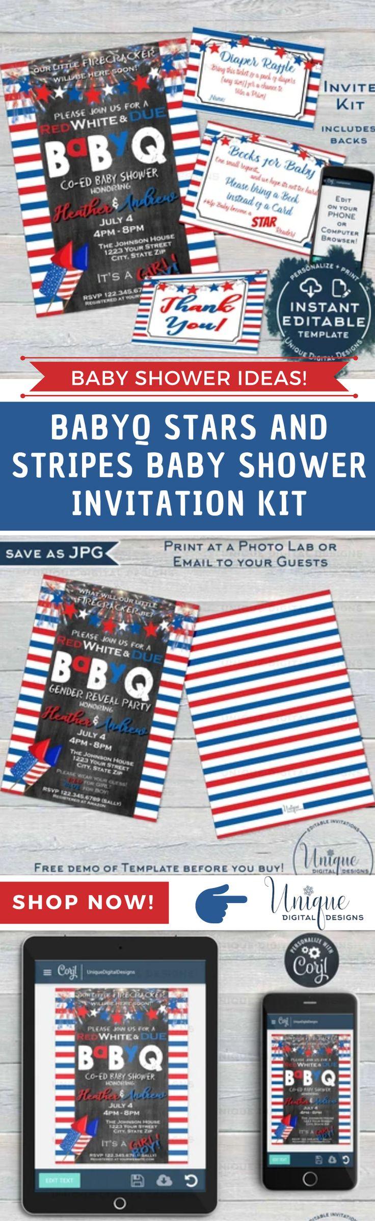 Babyq stars and stripes baby shower invitation kit