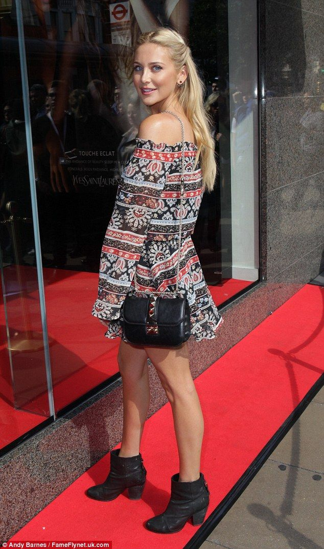 Flirty look: MIC's Stephanie Pratt made the most of her long legs in her boho chic ensembl...