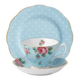 POLKA BLUE | | 3 PIECE SET | TEACUP, SAUCER AND PLATE  by Spring Tea with Royal Albert