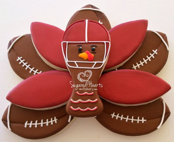 Thanksgiving Football Turkey Cookie Platter by SugaredHeartsBakery
