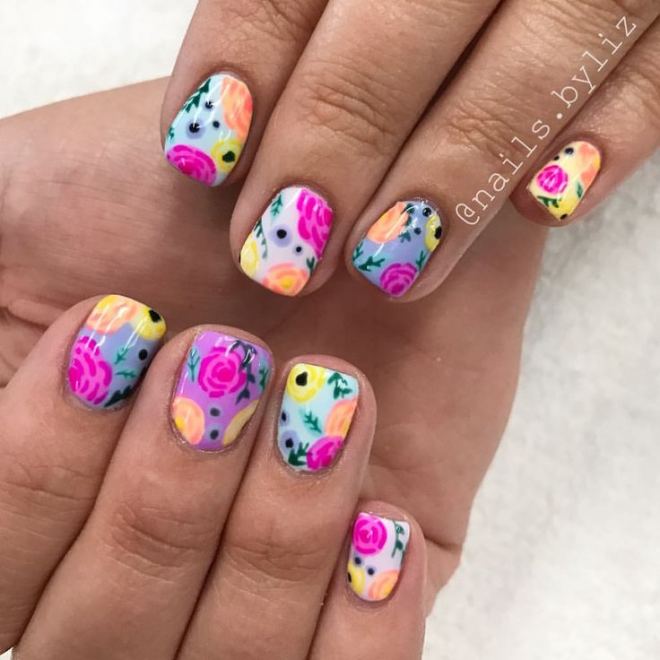 """310 Likes, 13 Comments - Liz Henson (@nails.byliz) on Instagram: """"Florals for days! These have to be some of my all time favorite nails, they just make me so happy…"""""""