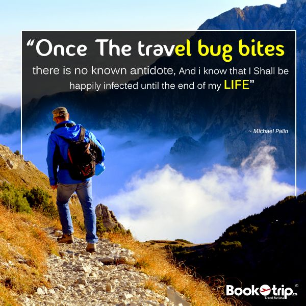 """""""Once the travel bug bites there is no known antidote, and I know that I shall be happily infected until the end of my life""""― Michael Palin #travel  #addiction #TravelQuotes #BookOtrip  #travelforlisting"""