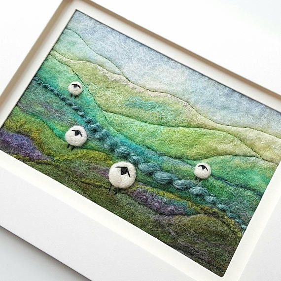 Felted wool art by Tilly Tea Dance textile artist Maxine Smith https://www.etsy.com/uk/listing/515083656/felted-landscape-with-sheep-roaming