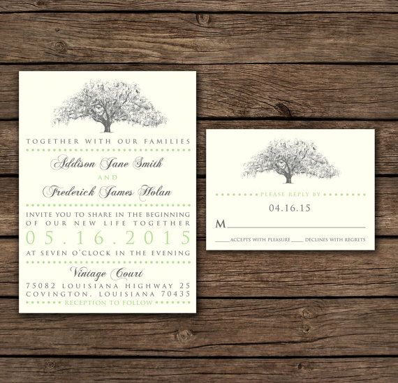 Rustic Oak Tree Wedding Invitations By Theinklab On Etsy