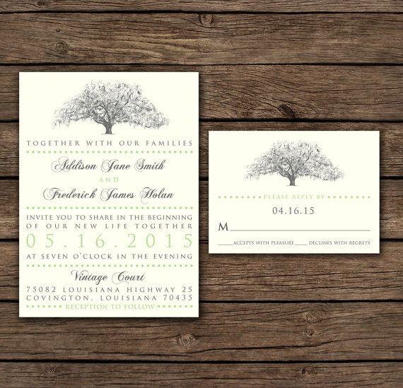 Rustic Oak Tree Wedding Invitations by theinklab on Etsy