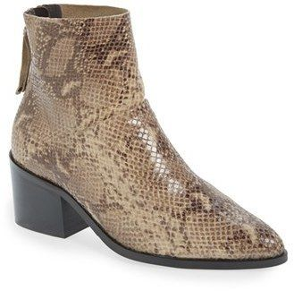 $69, Topshop Midnight Snake Embossed Ankle Boot. Sold by Nordstrom. Click for more info: https://lookastic.com/women/shop_items/432204/redirect