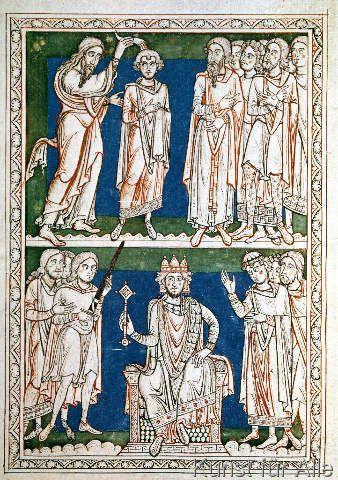 Buchmalerei - Salbung Davids / Antiphonar von St.Peter
