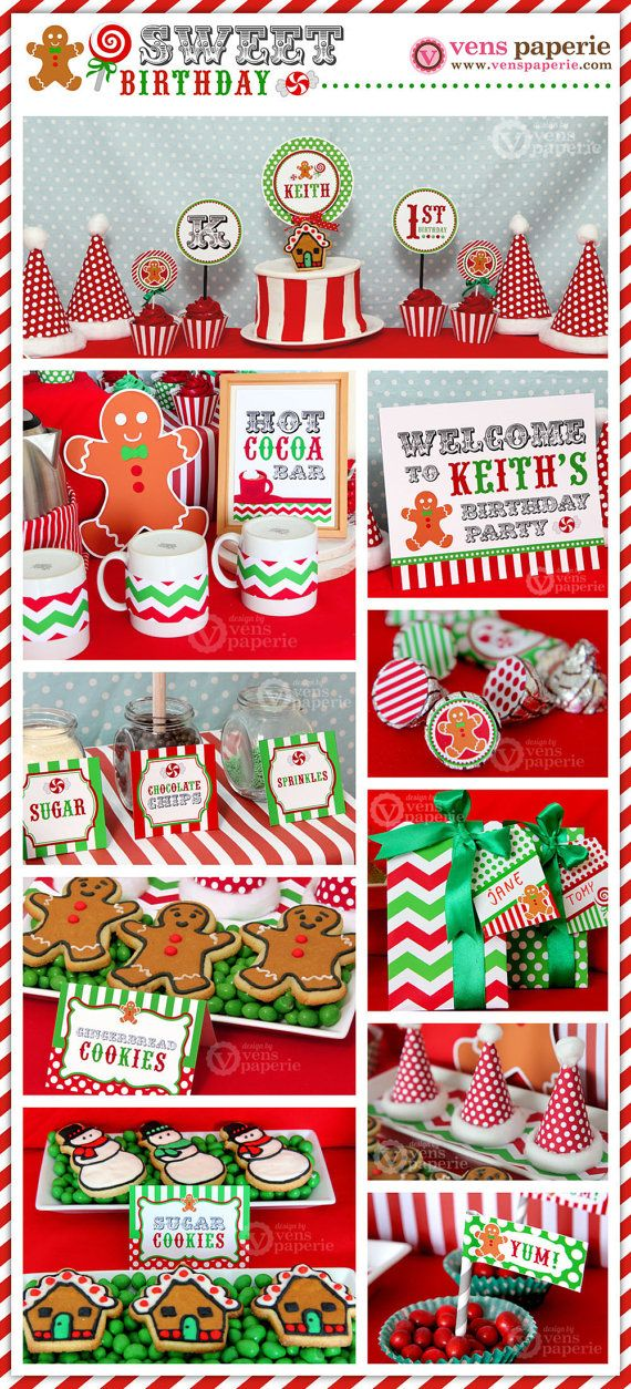 Sale  Christmas Sweet Shoppe Birthday Party Package by venspaperie, $29.00