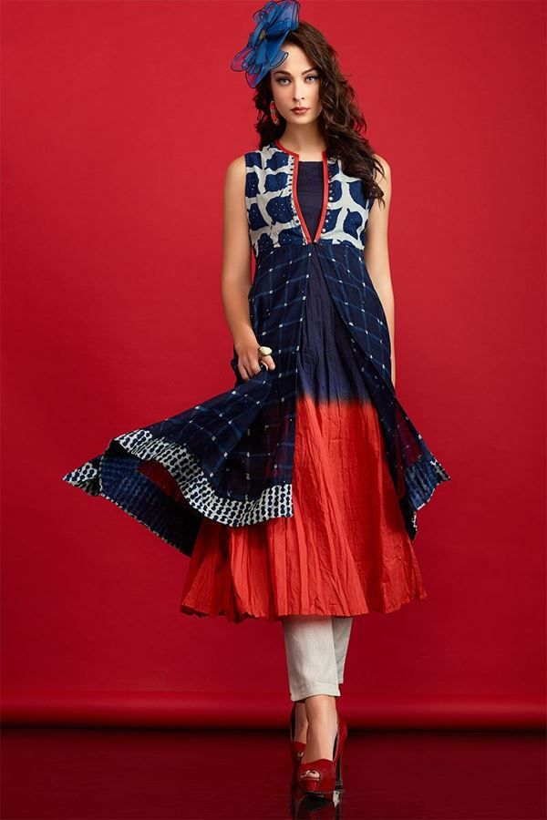 Aishwarya Blue & Orange Bold Crush Cotton Kurti @Looksgud.in #Aishwarya, #BlueAndOrange, #Kurti