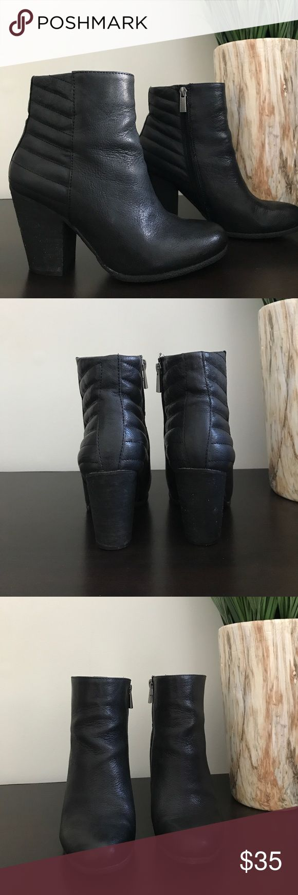"Vince Camuto Black Leather Ankle Boots Vince Camuto black leather ankle boots. Worn a few times and they have a lot of life left in them! Heel measures 3.5"" Vince Camuto Shoes Ankle Boots & Booties"