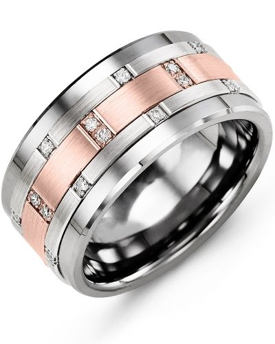 Mens Diamond Tungsten Carbide Wedding Ring With 10kt White Rose Gold Inlay 11mm