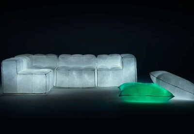 Milan Furniture Fair Day 2: Glowing Inflatable Furniture Made of Recycled Materials WANT