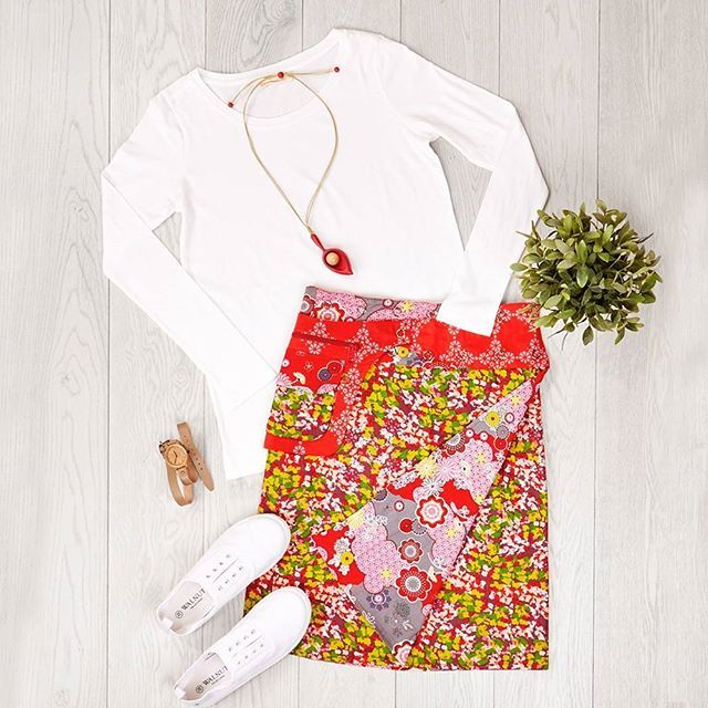 """A beautiful choice of print and pattern, this outfit from #BoomShankar is fun to wear and fun to style. Outfit: """"In The Print"""" available at birdsnest.com.au Outfit Details: #BoomShankar Skirt & Top, #Walnut Plimsoles, #Zatini Necklace, #iBark Watch"""