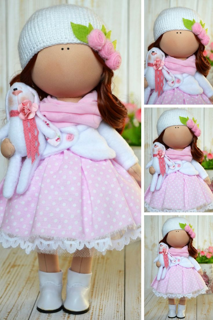Handmade Pink Doll Interior Rag Doll Textile Gift Doll Poupée Chiffon Tilda Baby Doll Puppen Decor Soft Doll Art Cloth Love Doll by Olga S  Doll can be a great present for your children, family, colleages or friends.  Style of doll easily helps to use such doll as home decoration and interior design.