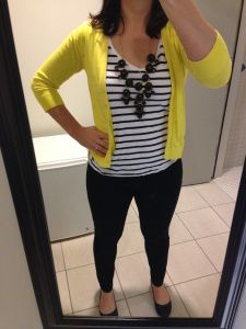 yellow cardigan, striped tee, black jeans