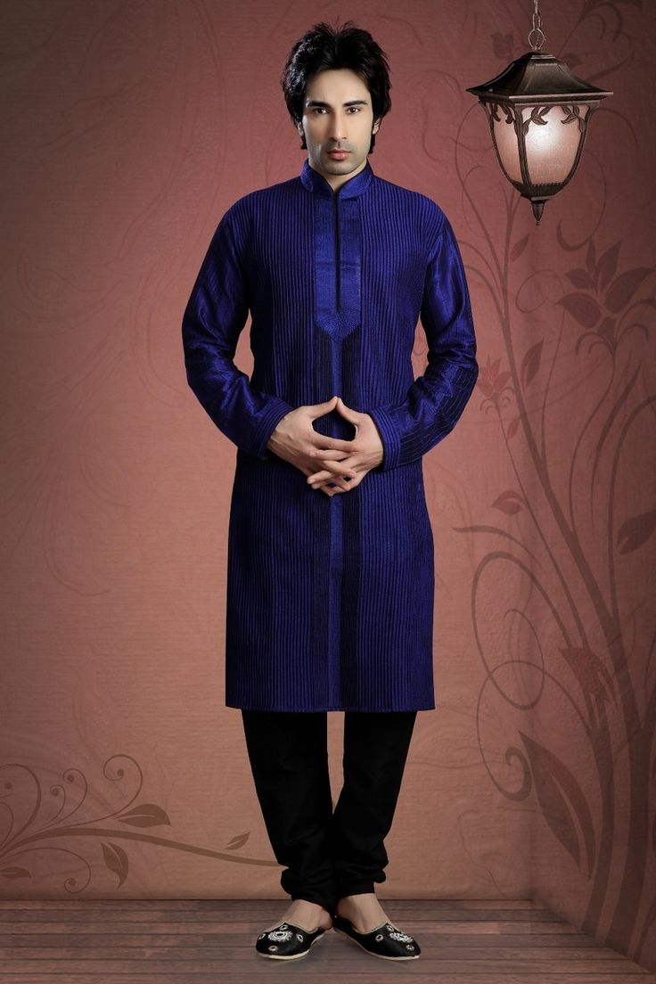 Blue Art Silk Kurta Payjama  Be the traditional yet fashionable in this Blue Dupioni Raw Silk & Art Silk Readymade Kurta. Garment features elaborate Readymade Kurta decorated with different patterns.