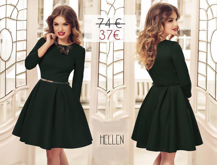 Short elegant green dress with 50% off discount: https://missgrey.org/en/dresses/short-elegant-bell-shaped-dress-dark-green-hellen/454?utm_campaign=martie&utm_medium=hellen_verde_reducere&utm_source=pinterest_produs