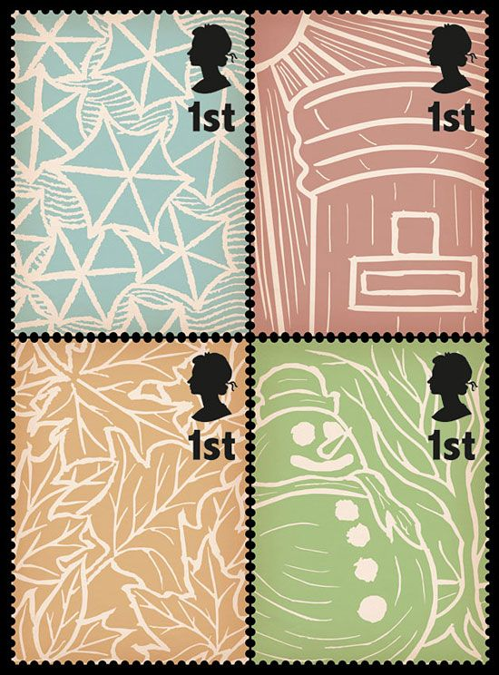 Postage stamps on British weather by  Stuart Chalmers http://decdesignecasa.blogspot.it