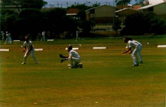 The early years at Clicks - Anton was wicket keeper(Jerome Ruch at first slip, Harry Gargan obscured at 2nd slip and Peter Adams at 3rd slip.)