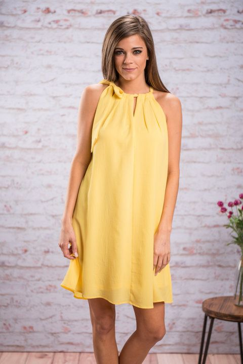 Bright Morning Star Dress, Yellow || You will shine like a bright morning star in this yellow dress! The color clearly helps but it's the way you will look in this dress that really makes you shine! The precious tied neckline and flowing fit will make you feel like a star!