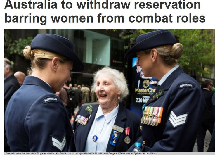 Following a public hearing by the treaties committee into opportunities for women to serve in combat roles within the Australian Defence Force, Australia will withdraw an outdated reservation to the gender discrimination convention.