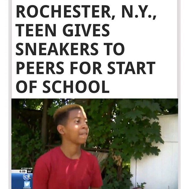 """Tennies, sneakers, runners. Whatever you call them, kids today are into them. And even if they're not, everyone wants to start school in a fresh pair of kicks. A Rochester, N.Y., 7th grader is giving back to his community by giving just that away before the start of the school year. Zaire Downs said that we was struck by another kid in his school being harassed because of his footwear. """"It's this boy in my school who gets bullied because he doesn't have nice shoes,"""" said Zaire to WHAM-13…"""