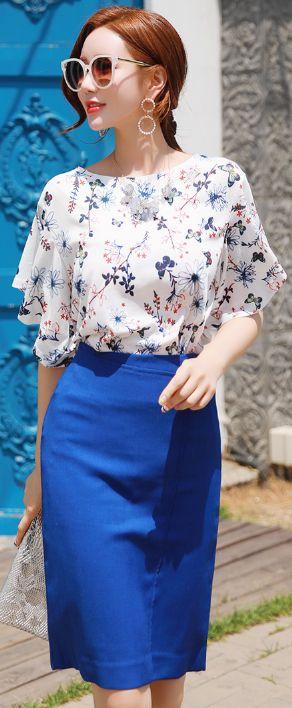 StyleOnme_Half Circle Decorative Detail H-Line Skirt #blue #pencilskirt #feminine #koreanfashion #kstyle #kfashion #dailylook #seoul #summertrend