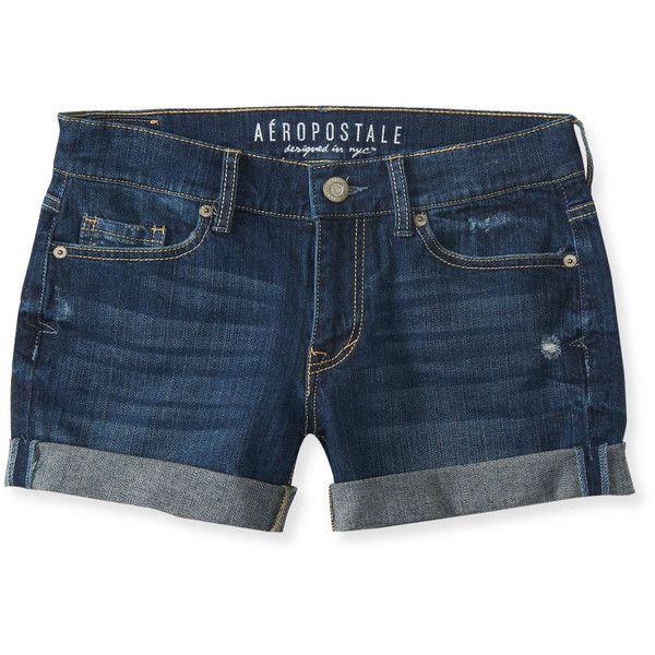 Aeropostale Dark Wash Destroyed Denim Boyfriend Midi Shorts ($12) ❤ liked on Polyvore