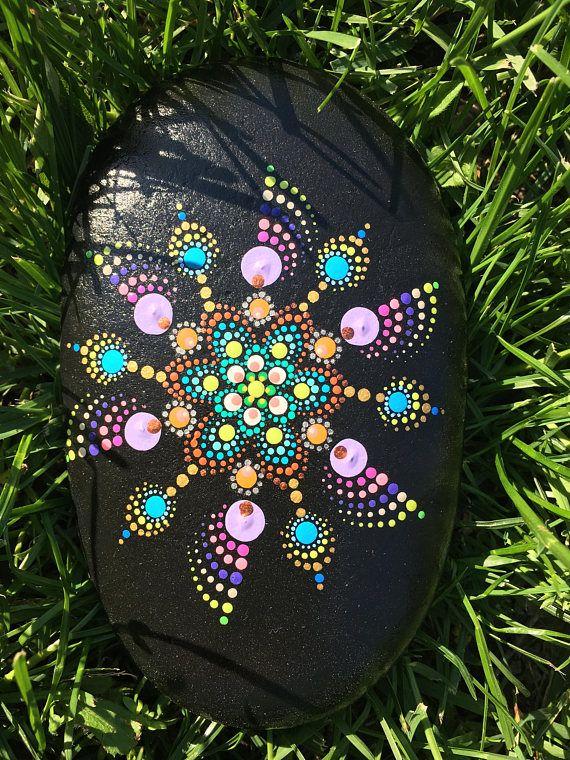 Piedra de Mandala mandala roca pintado en piedra piedra de