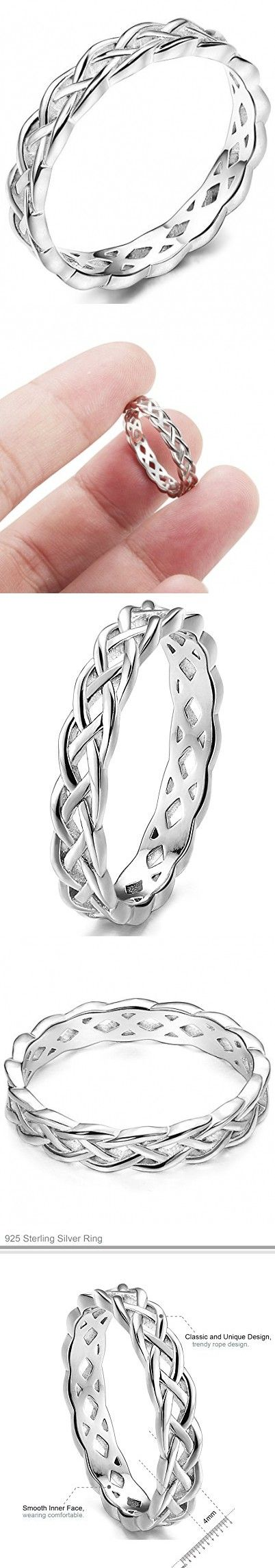 FUNRUN 4mm Sterling Silver Celtic Knots Eternity Wedding Bands Rings for Women Size 8