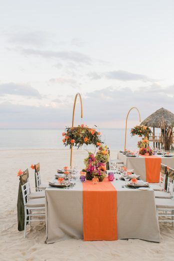 5 Reasons Why Sandals Jamaica is the PERFECT Destination Wedding Location - United With Love & Aisle Society | Alexis June Weddings | Tropical Wedding Inspiration | Bright Color Wedding | Orange Wedding Ideas | Beach Wedding Inspiration | Wedding Reception on Beach
