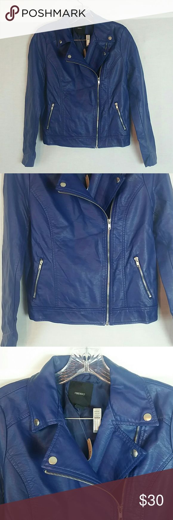 Forever 21 Blue Faux Leather Moto Jacket Size S Faux