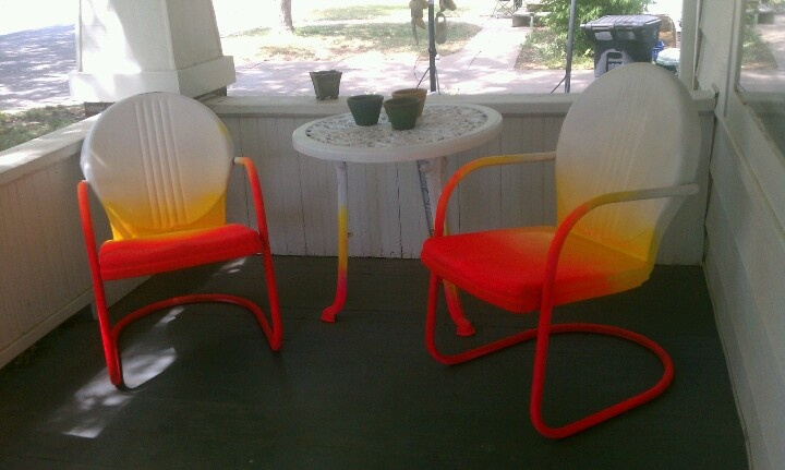 weekend diy ombre patio chairs! Malibu Sunset!
