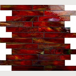 Third option bonfire 1quot x 6quot red brick victorian glass for Red and black kitchen backsplash